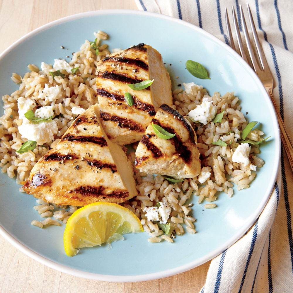 Grilled Lemon Chicken with Feta Rice Recipe