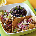 Chicken Carne Asada Tacos with Pickled Onions