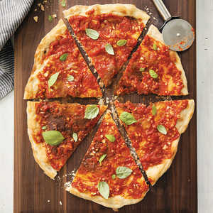 Cracker-Thin Pizza with Super-Garlicky Tomato SauceRecipe