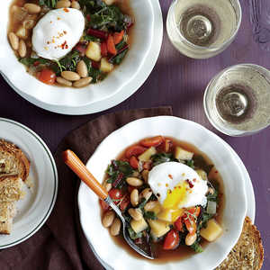 Swiss Chard and White Bean Soup with Poached EggsRecipe