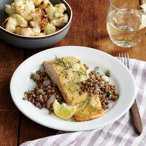 Mustard-Glazed Salmon Fillets with Roasted Cauliflower Recipe