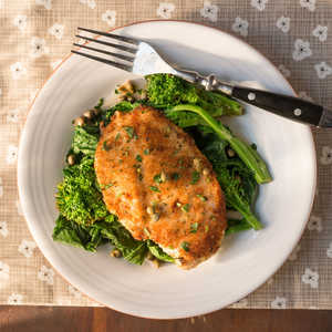<p>Chicken Scaloppine over Broccoli Rabe</p>