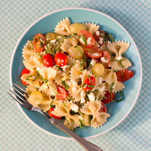 <p>Bow Ties with Tomatoes, Feta, and Balsamic Dressing</p>