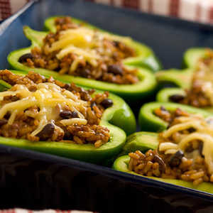 Black Bean and Rice Stuffed Peppers with Jack CheeseRecipe