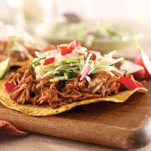 Pulled Pork Tostadas with Slaw and Chipotle CreamRecipe