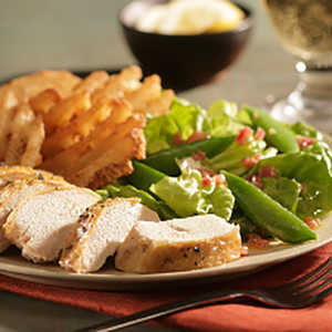 Oven Roasted Chicken with Wilted Lettuce and Spring PeasRecipe