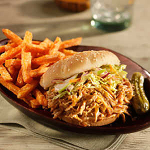 Open-Faced Pulled Pork Sandwich with Spicy ColeslawRecipe