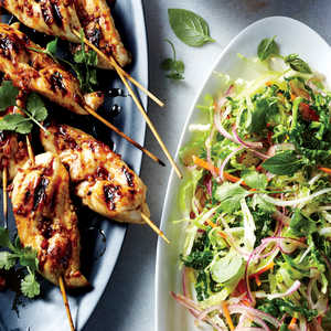 Grilled Chicken Skewers with Asian Pear SlawRecipe