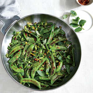 Sauteed Sugar Snap Peas with Chile Lemon and Mint Recipe