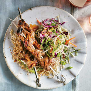 Glazed Beef Skewers with Ginger Slaw Recipe