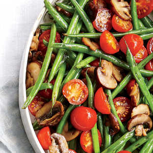 Haricots Verts with Cherry Tomatoes and Mushrooms Recipe