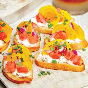 Goat Cheese Crostini with Watermelon Beet SalsaRecipe