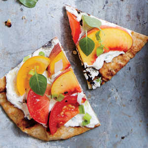 Tomato and Peach Flatbreads and Basil Recipe