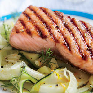 Brown Sugar Grilled Salmon with Zucchini and Fennel NoodlesRecipe