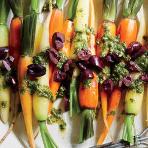 Baby Carrots with Herb Dressing and Olives Recipe