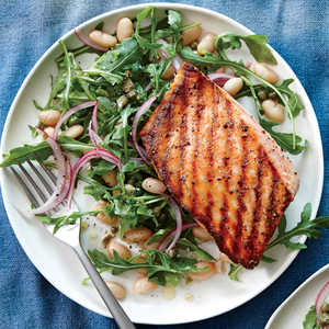 Grilled Salmon with White Bean and Arugula SaladRecipe
