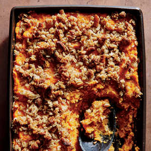 Sweet Potato Casserole with Crunchy Oat Topping Recipe