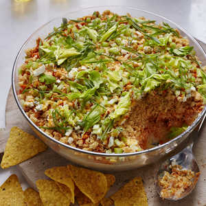 <p>Layered Buffalo Chicken Dip</p>