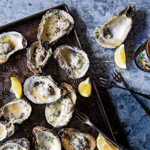 Grilled Oysters with Lemon-Garlic Butter Recipe