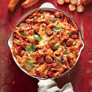 Skillet-Baked Ziti with Andouille, Tomatoes, and PeppersRecipe