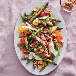 Roasted Asparagus with Walnuts, Parmesan, and Cherry TomatoesRecipe