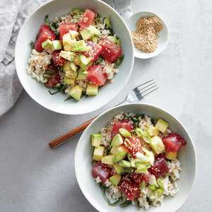 Tuna Poke Bowls with Brown Rice and Kale Recipe
