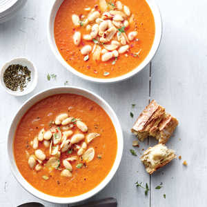 Silky Tomato Soup with White Beans and Garlic Oil Recipe