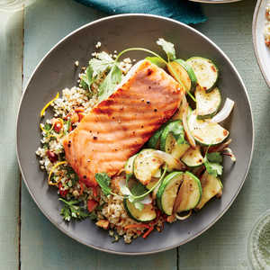 Honey-Dijon Glazed Salmon with Flash-Cooked Zucchini Recipe