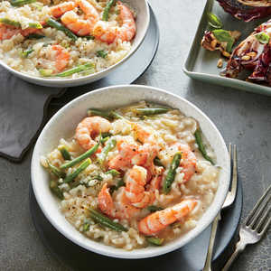 Lemon-Herb Risotto with Shrimp and Haricot VertsRecipe