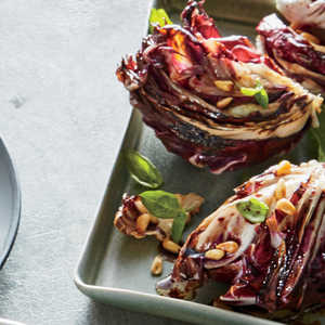Grilled Balsamic Radicchio with Pine Nuts Recipe