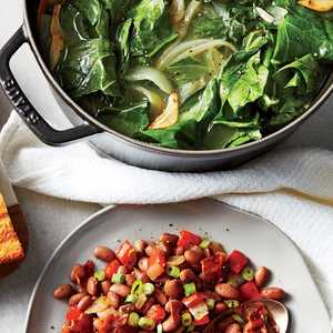 Braised Collard Greens and Bacon-Pepper Pinto BeansRecipe