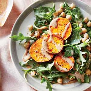 Sweet Potato Medallions with Almond Sauce and Chickpea SaladRecipe