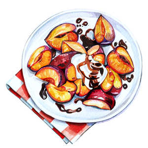 Balsamic Glazed and Roasted Plums Recipe