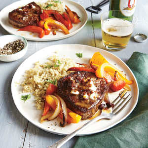 Beef Tenderloin Steaks with Chipotle Butter and Bell Pepper SautéRecipe