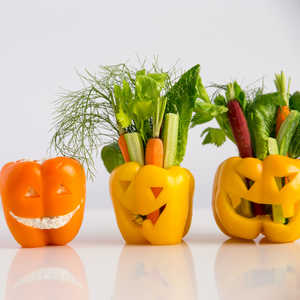Bell Pepper Jack O'Lanterns with Vegetables and DipRecipe