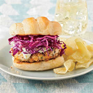 Blackened Grouper Burgers with Red Cabbage SlawRecipe