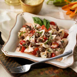 Bowties with Italian Sausage in a Cream Basil SauceRecipe
