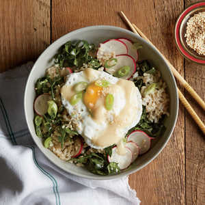 Brown Rice Bowl with Miso, Poached Egg, and Kale-Radish SlawRecipe