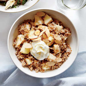 <p>Bulgur Bowl with Apples, Almond Butter, and Goat Cheese</p>