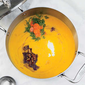 Carrot Soup with Brown Butter, Pecans, and Yogurt Recipe