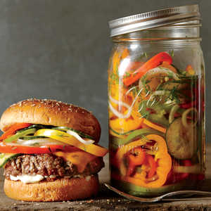 Cheesesteak Burgers with Pickled Peppers, Onions, and CucumberRecipe