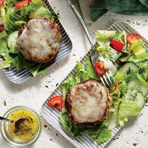 Cheesy Beef Patties with Tomato-Cucumber SaladRecipe