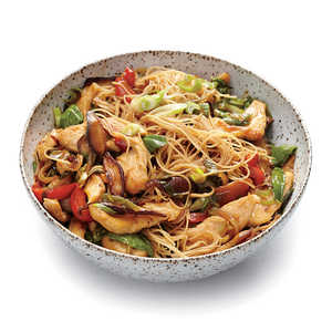 Chicken and Rice Noodle Stir-Fry with Ginger and BasilRecipe