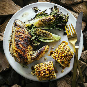 Grilled Chicken with Spicy Corn on the Cob and Grilled LettucesRecipe