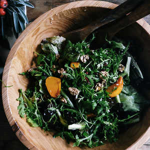 Chicory Salad with Persimmons, Pomegranates, and WalnutsRecipe