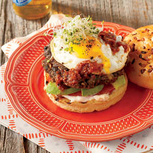 Chipotle Black Bean Burgers with Fried Egg and AvocadoRecipe