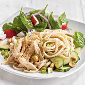 <p>Cold Sesame Noodles with Chicken and Cucumbers</p>