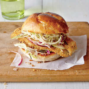 Cornmeal-Dusted Catfish Sandwiches with Tangy SlawRecipe