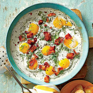 Creamy Baked Eggs with Herbs and BaconRecipe