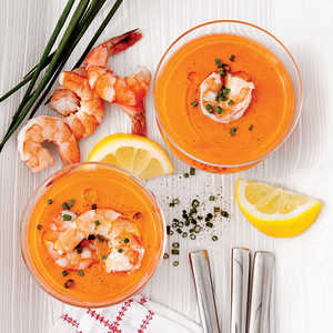 Creamy Tomato Gazpacho with ShrimpRecipe